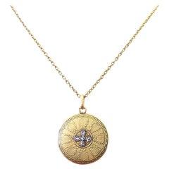 French 19th Century Belle Époque Diamond 18 Karat Gold Locket Necklace