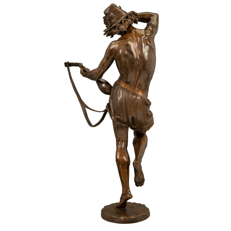 French 19th Century Belle Époque Period Patinated Bronze Statue For Sale 1