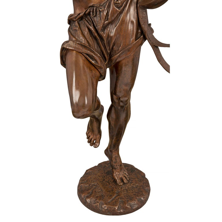 French 19th Century Belle Époque Period Patinated Bronze Statue For Sale 4