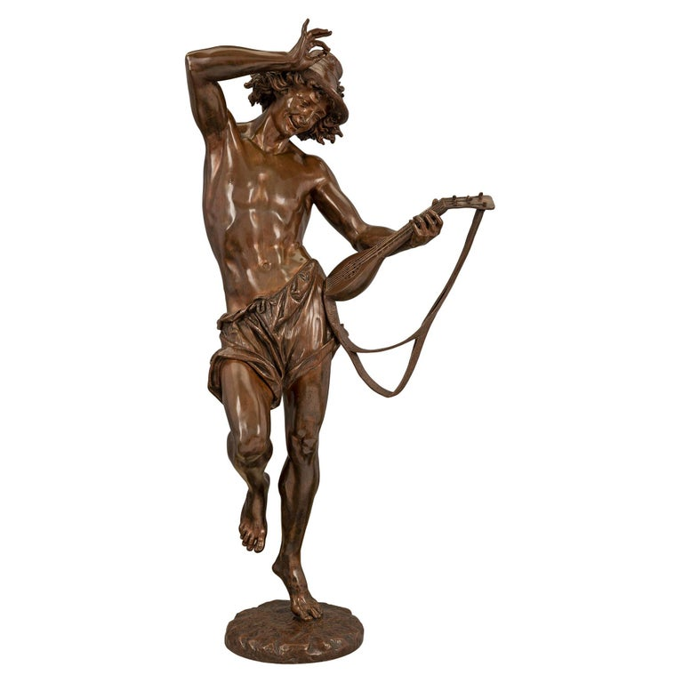 French 19th Century Belle Époque Period Patinated Bronze Statue For Sale