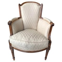 French 19th Century Bergère Armchair in Light Beige Upholstery