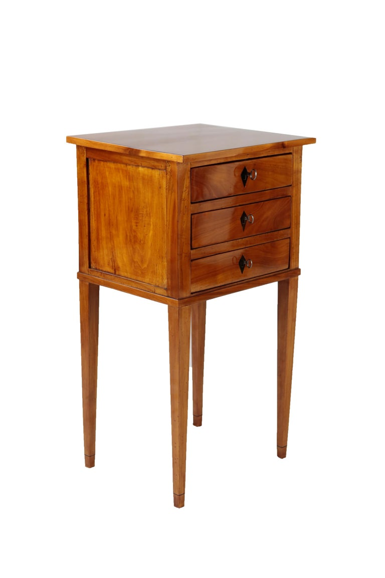 Polished French 19th Century Biedermeier Period Side Table, Solid Cherrywood, 3 Drawers For Sale