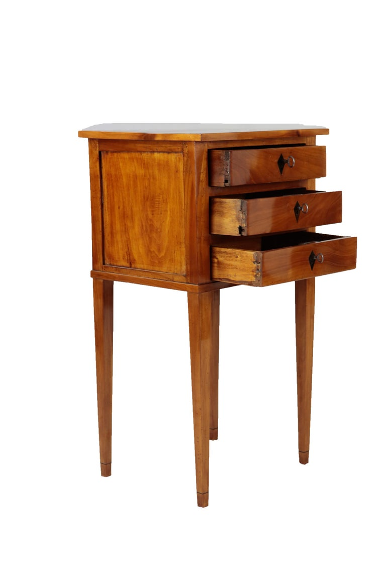 Early 19th Century French 19th Century Biedermeier Period Side Table, Solid Cherrywood, 3 Drawers For Sale