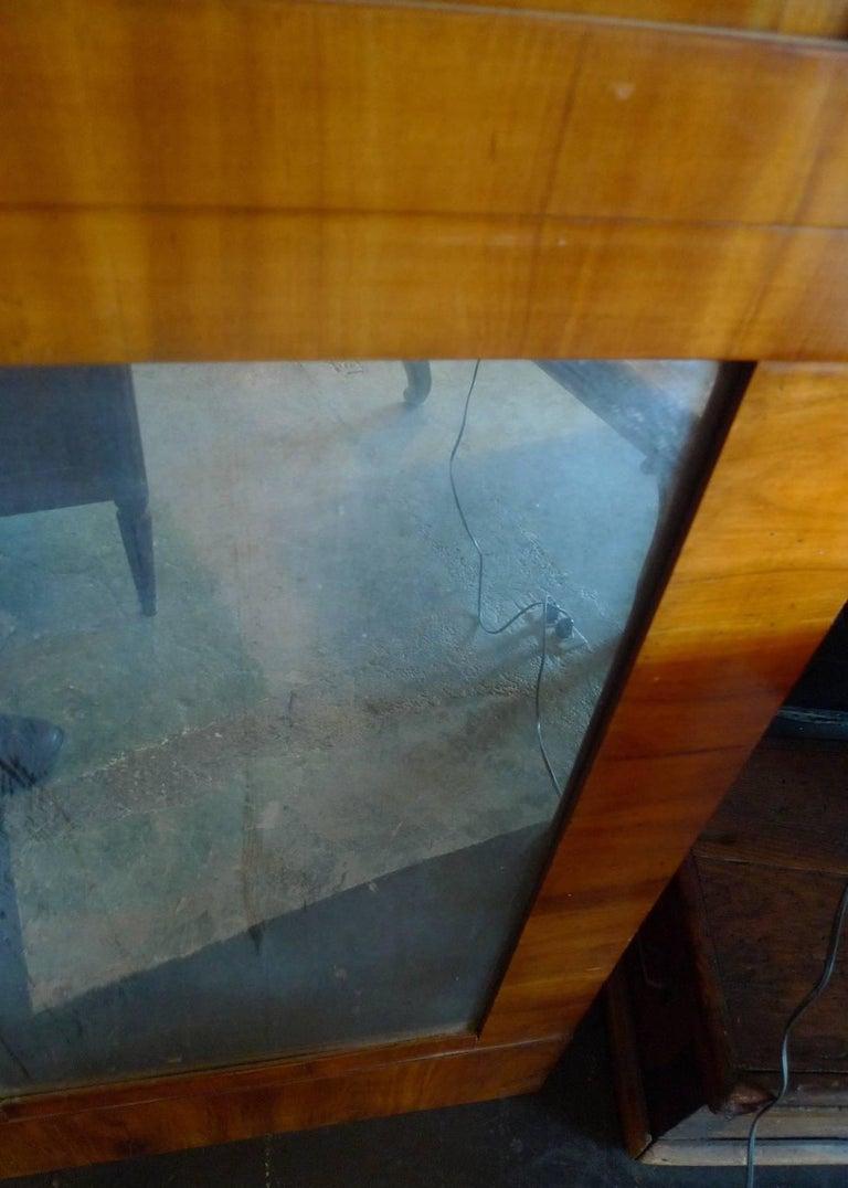 French 19th Century Biedermeier Walnut Trumeau Mirror with Original Mirror Glass For Sale 2