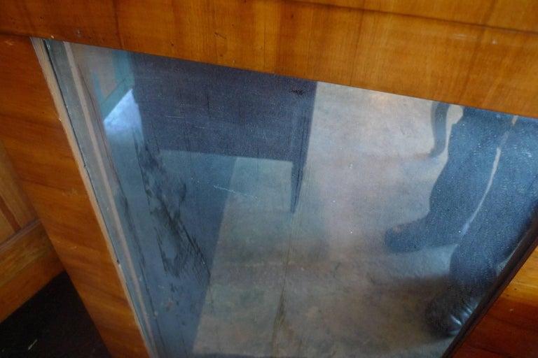 French 19th Century Biedermeier Walnut Trumeau Mirror with Original Mirror Glass For Sale 3