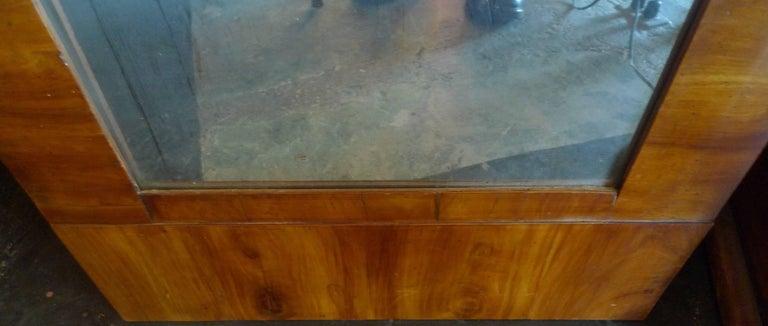French 19th Century Biedermeier Walnut Trumeau Mirror with Original Mirror Glass For Sale 4