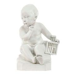 """French 19th Century Biscuit De Sèvres Statuary of """"Enfant À La Cage"""""""