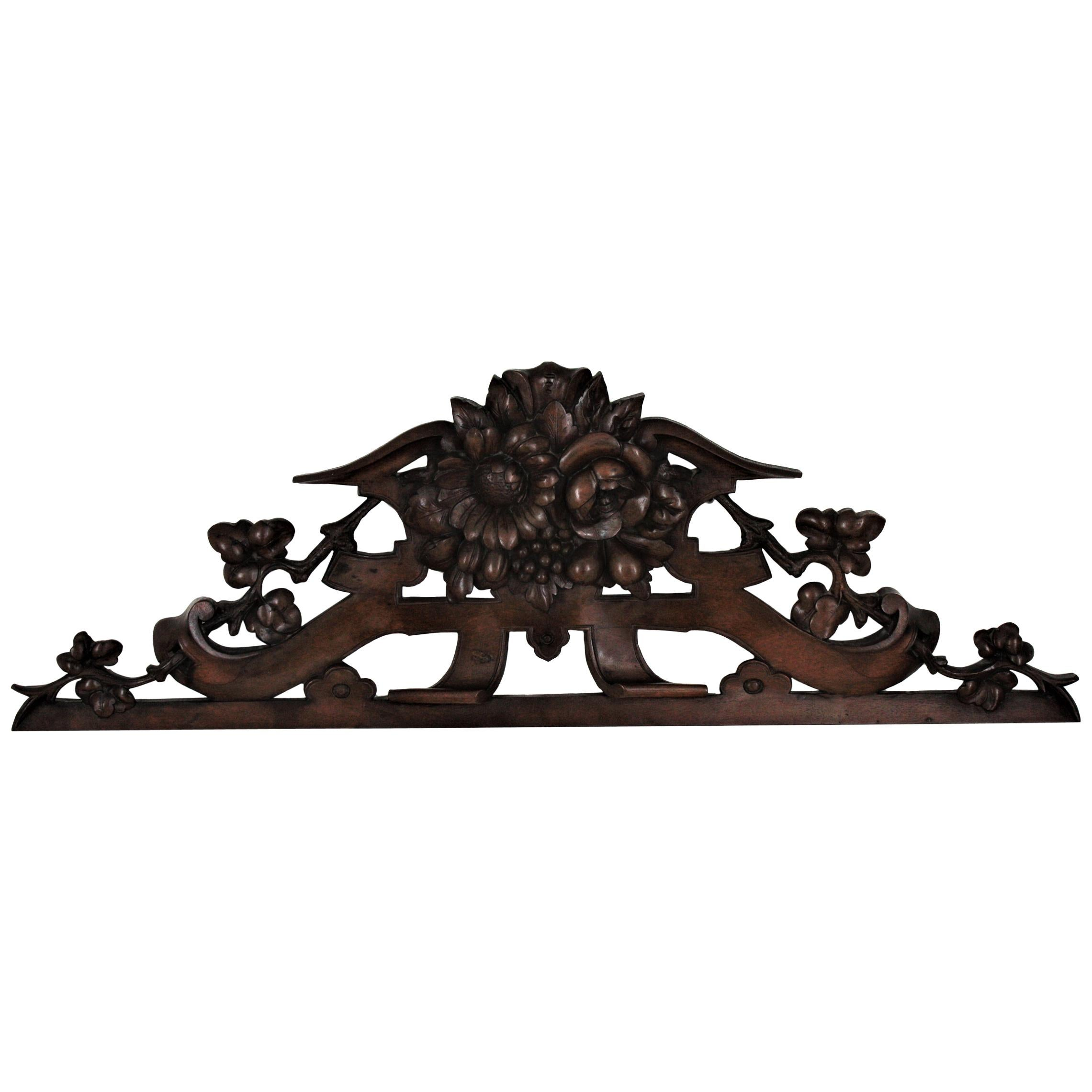 French 19th Century Black Forest Carved Walnut Fruit and Flower Pediment / Crest