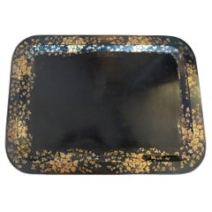 French 19th Century Black Toile Tray with Gold Decorative Painted Surround