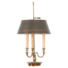 French 19th Century Bouillotte Lamp & Tole Shade