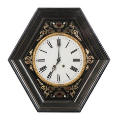French 19th Century Boulle-Inlaid Hexagonal Wall Clock