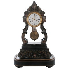 French 19th Century Boulle-Inlay Table Clock Under Glass Dome