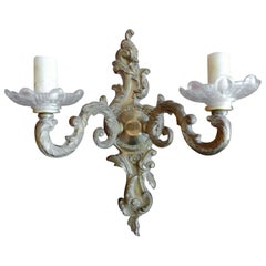 French 19th Century Bronze and Glass Two-Light Sconce