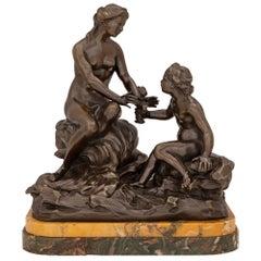French 19th Century Bronze, Breccia De Pavonazza and Sienna Marble Statue