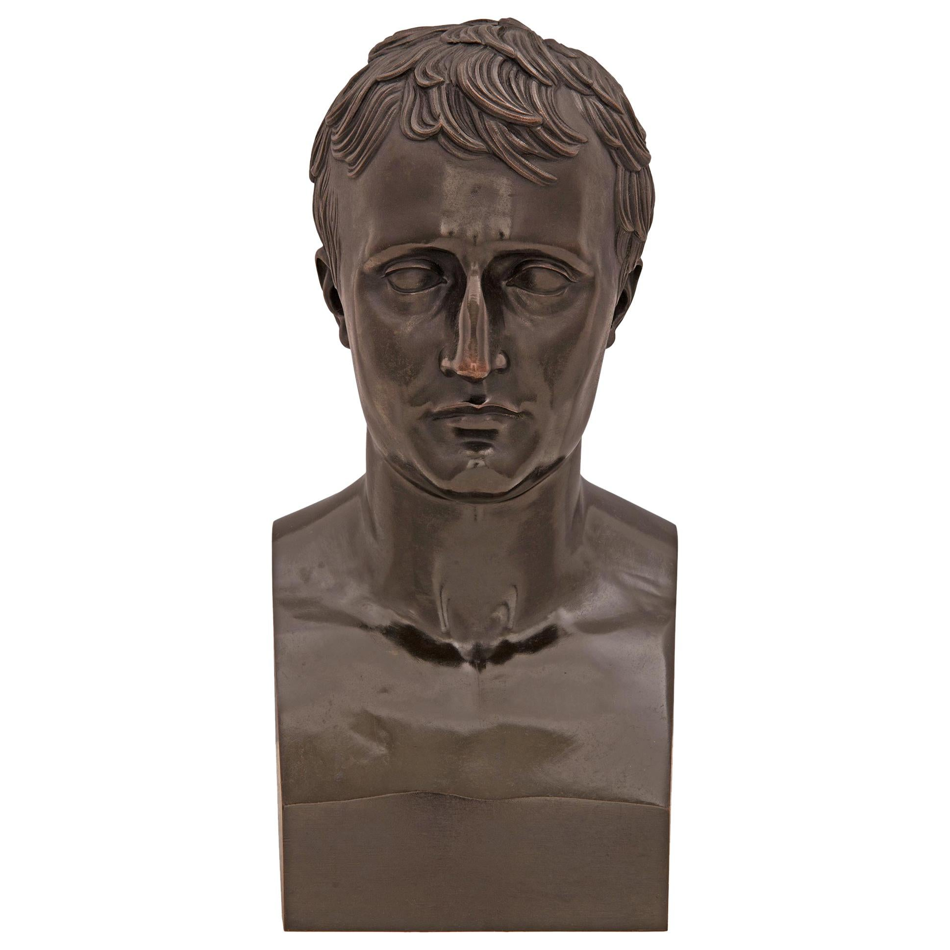 French 19th Century Bronze Bust of Napoleon, after a Model by Antonio Canova