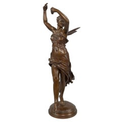 French 19th Century Bronze State of a Smiling Psyche by Delaplanche