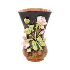 French 19th Century Brown Barbotine Vase with High Relief Pink Roses