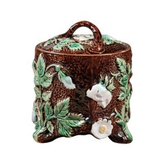 French 19th Century Brown Majolica Lidded Jar with Moulded Floral Décor