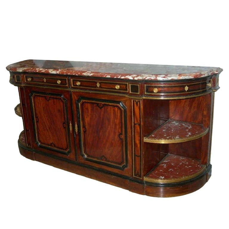 """French 19th Century Buffet """"Enfilade"""" with Marble-Top Royal Rouge of Languedoc"""