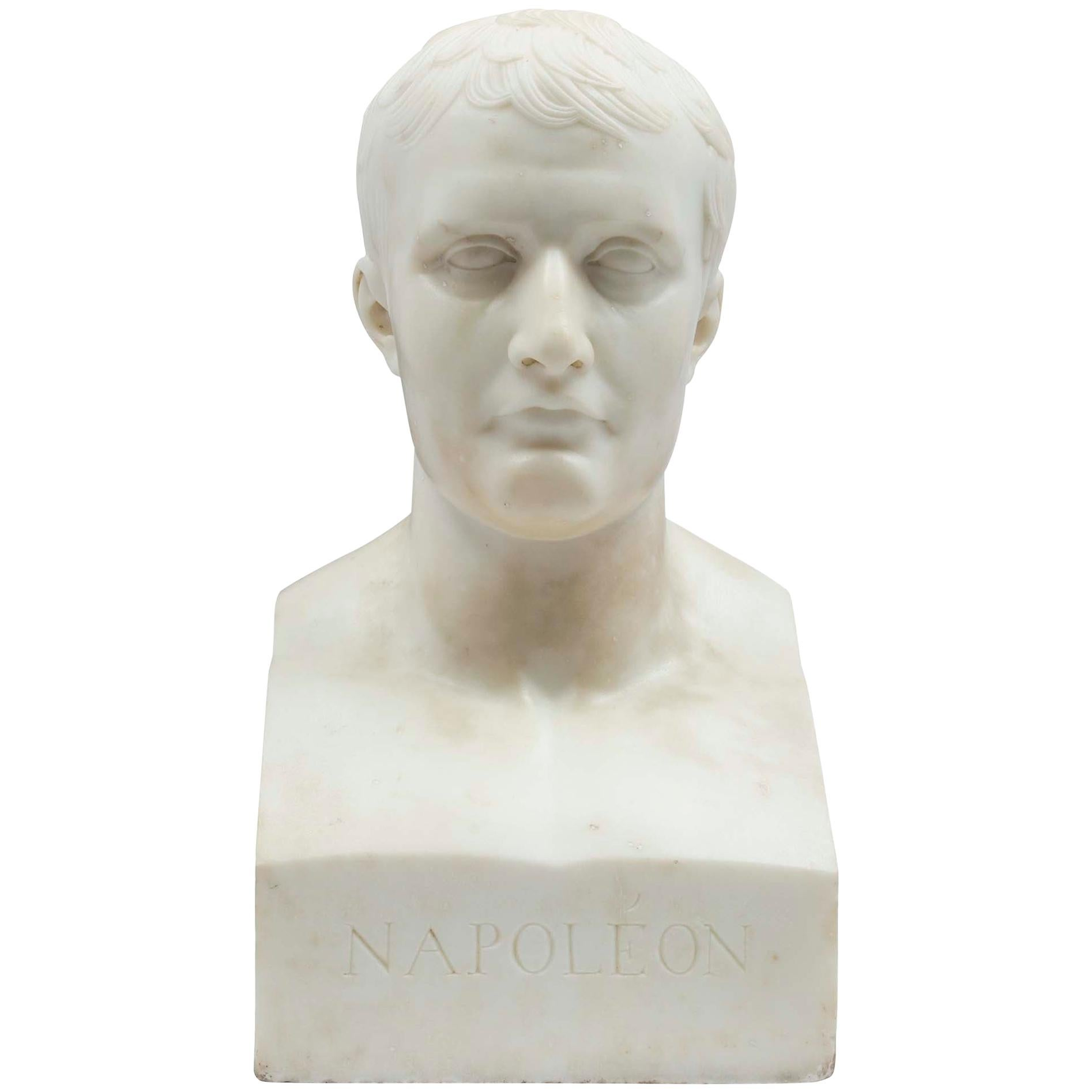 French 19th Century Bust of Napoleon in White Carrara Marble