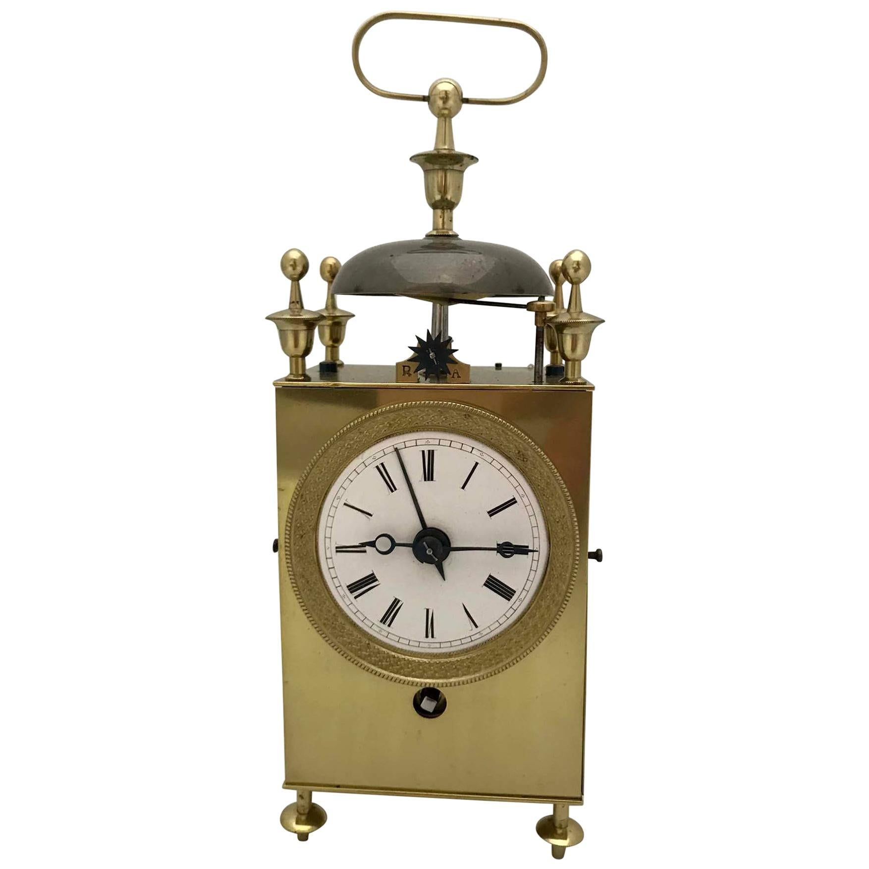 French 19th Century Capucine Officers Clock, circa 1820