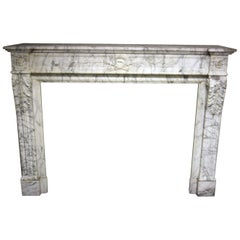 French 19th Century Carrara Marble Chimneypiece in the Louis XVI Manner