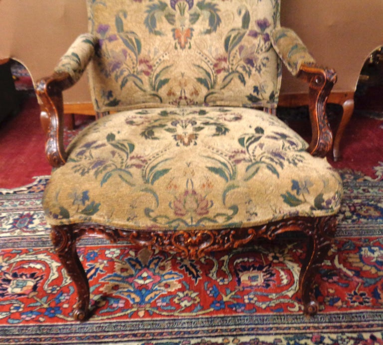 """Fine French 19th century carved and upholstered armchair in beechwood, circa 1880  Measures: Back height 43 1/2"""" Depth 24"""" Front width 29""""."""