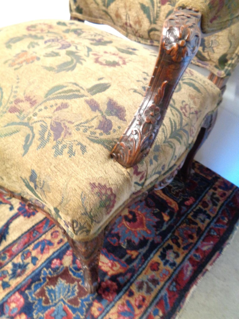Late 19th Century French 19th Century Carved and Upholstered Armchair For Sale