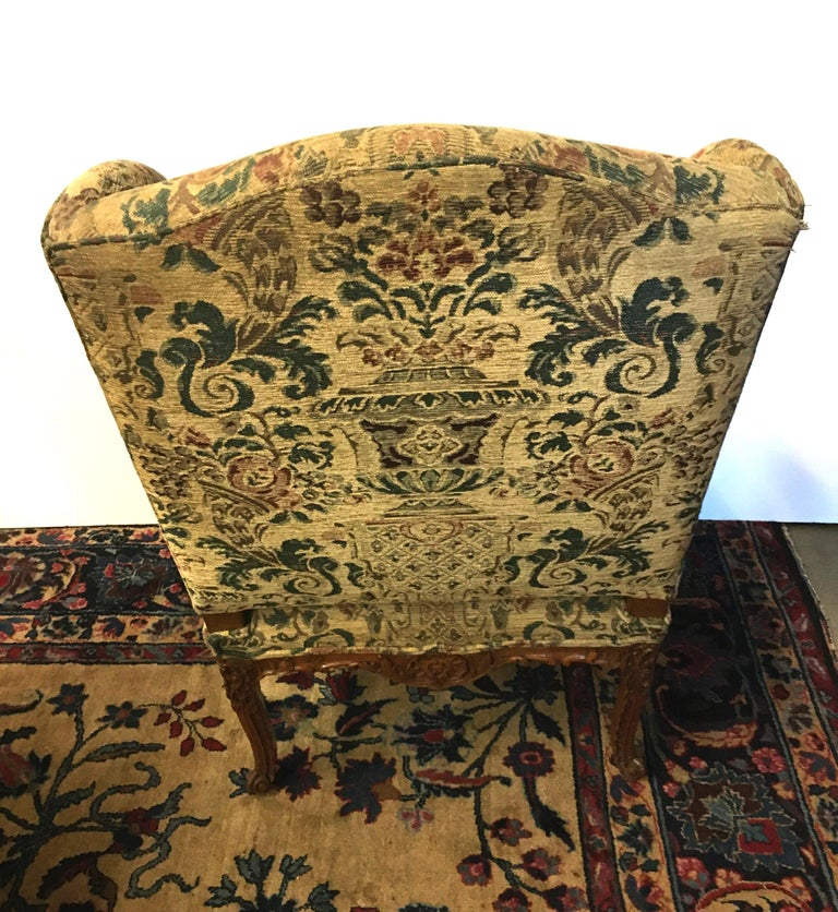 Beech French 19th Century Carved and Upholstered Armchair For Sale