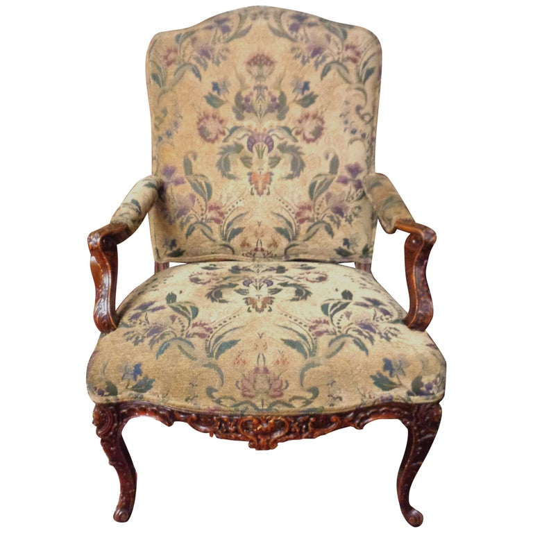 French 19th Century Carved and Upholstered Armchair For Sale