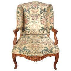 French 19th Century Carved and Upholstered Wingback Chair