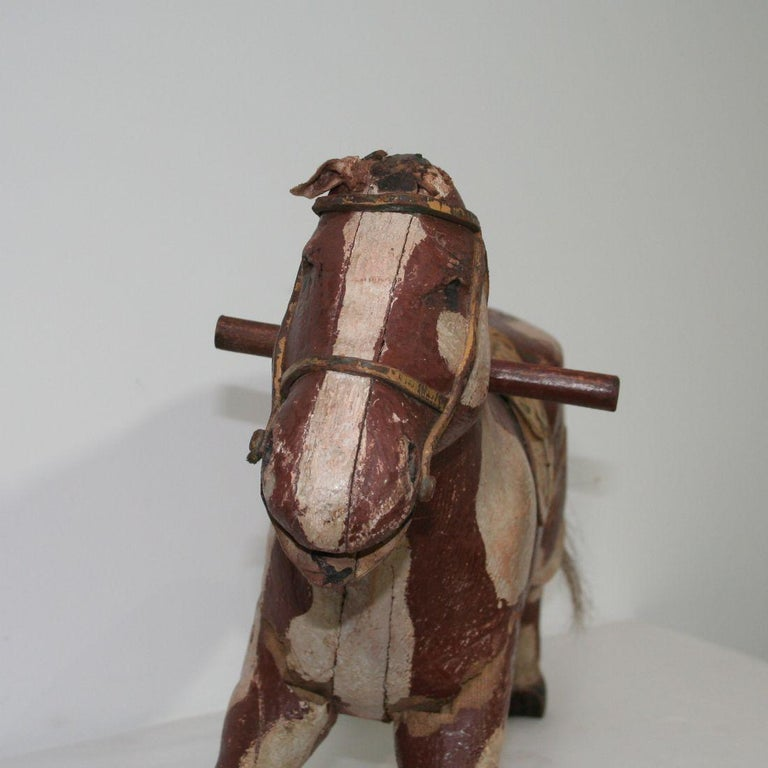 French 19th Century Carved Folk Art Wooden Horse For Sale 13
