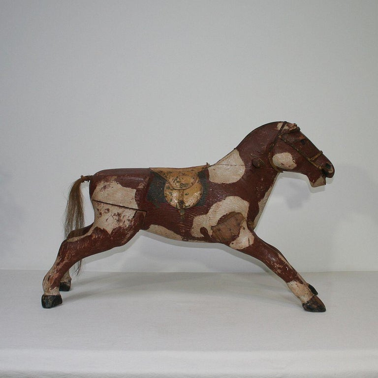 French 19th Century Carved Folk Art Wooden Horse In Good Condition For Sale In Amsterdam, NL
