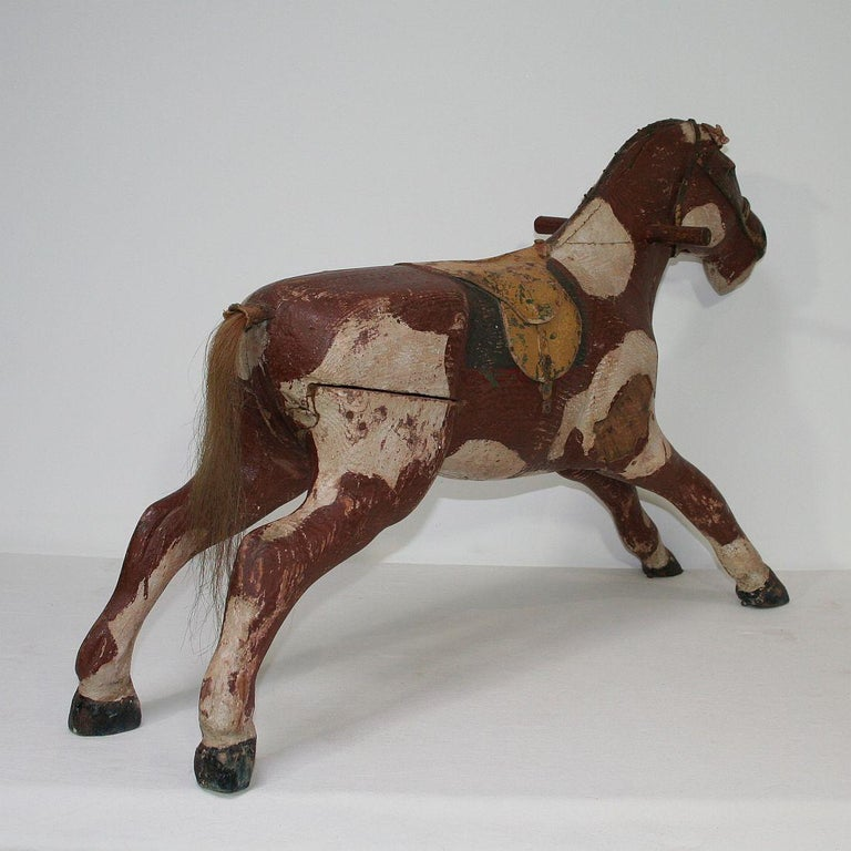 French 19th Century Carved Folk Art Wooden Horse For Sale 1
