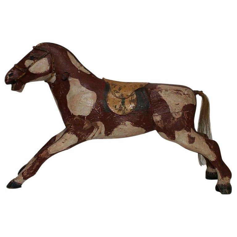 French 19th Century Carved Folk Art Wooden Horse For Sale