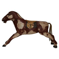 French 19th Century Carved Folk Art Wooden Horse