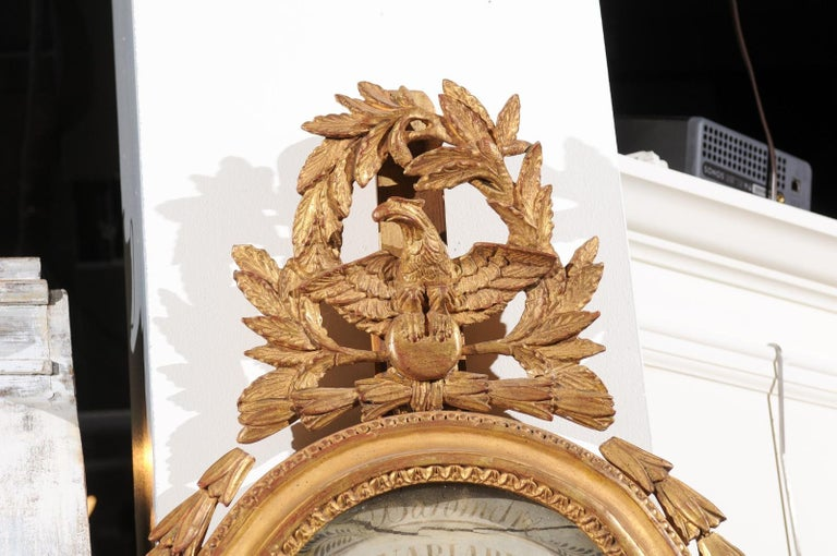 French 19th Century Carved Giltwood Barometer with Eagle and Laurel Wreath Motif For Sale 8