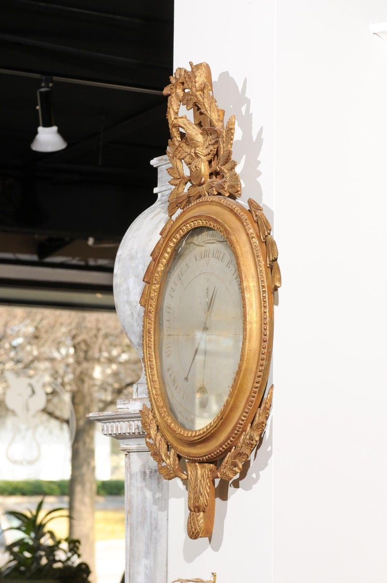 French 19th Century Carved Giltwood Barometer with Eagle and Laurel Wreath Motif For Sale 1