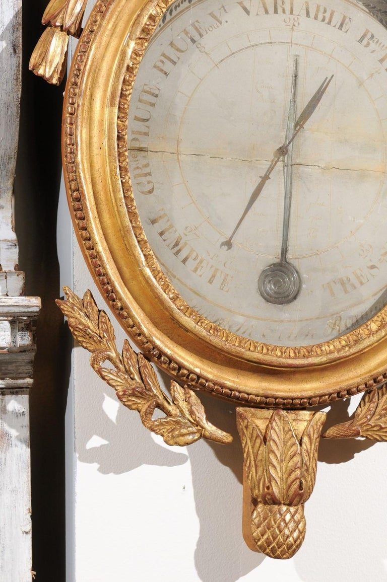French 19th Century Carved Giltwood Barometer with Eagle and Laurel Wreath Motif For Sale 2