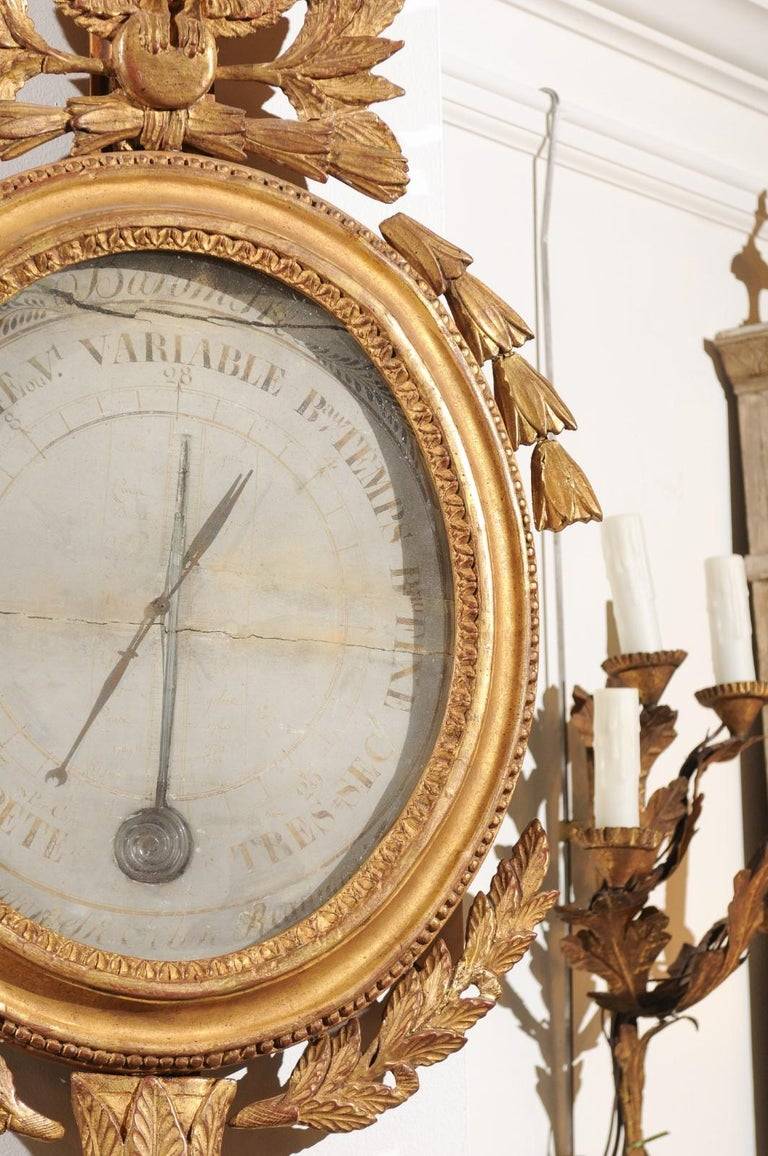 French 19th Century Carved Giltwood Barometer with Eagle and Laurel Wreath Motif For Sale 3