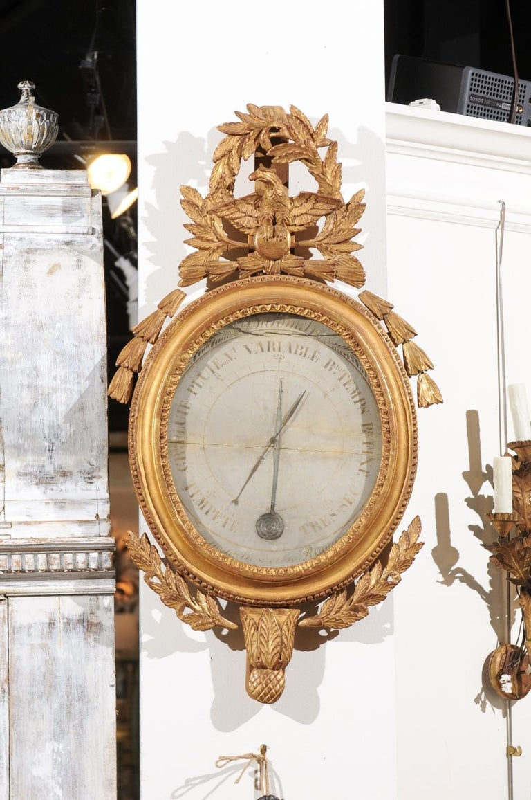 French 19th Century Carved Giltwood Barometer with Eagle and Laurel Wreath Motif For Sale 4