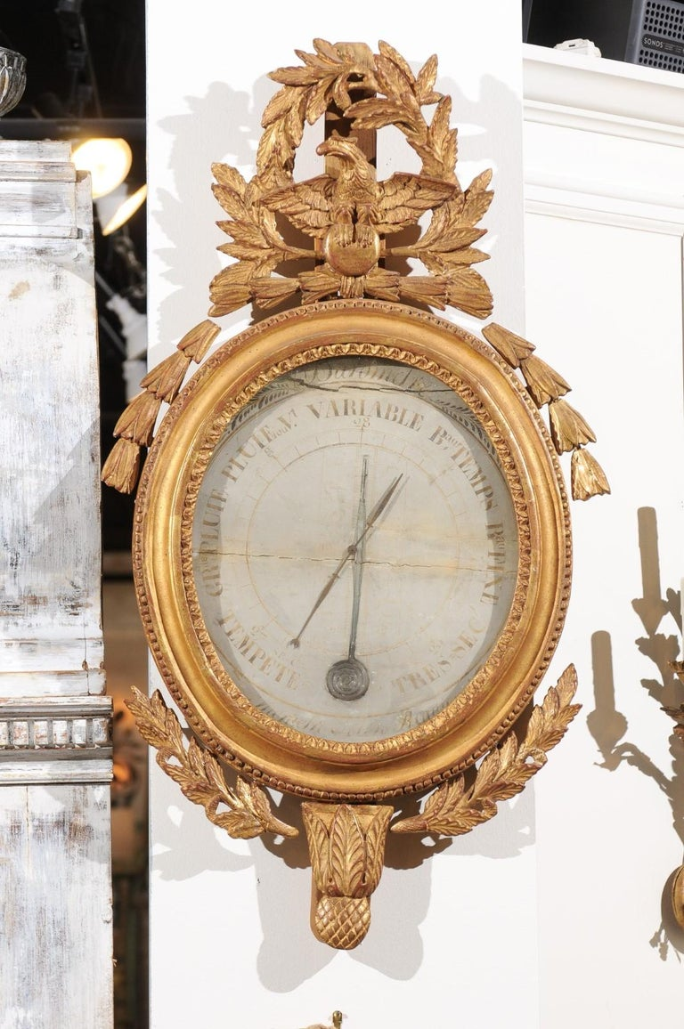French 19th Century Carved Giltwood Barometer with Eagle and Laurel Wreath Motif For Sale 6