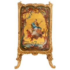French 19th Century Carved Giltwood Verni Martin Fire Screen