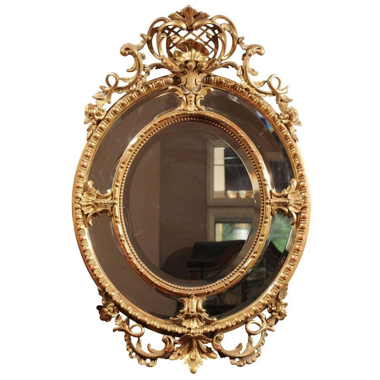 French 19th Century Carved Gold Leaf Mirror