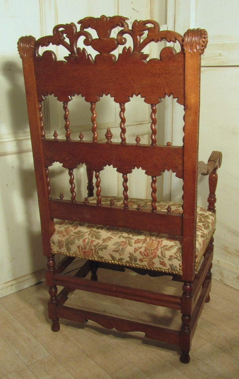 Gothic French 19th Century Carved Oak Armchair, Throne or Hall Chair For Sale