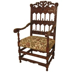 French 19th Century Carved Oak Armchair, Throne or Hall Chair