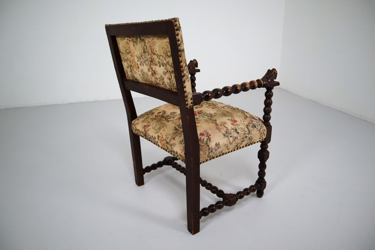 French 19th Century Carved Oak Armchair with Original Fabric, 1870 1