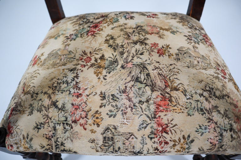 French 19th Century Carved Oak Armchair with Original Fabric, 1870 2