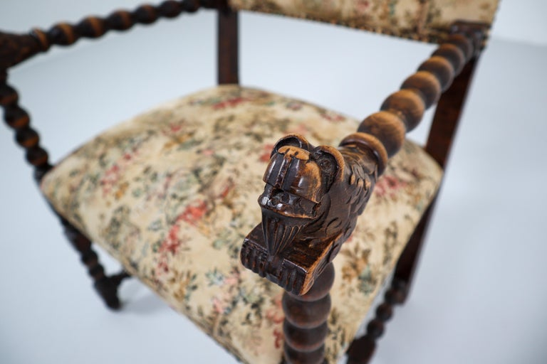 French 19th Century Carved Oak Armchair with Original Fabric, 1870 3