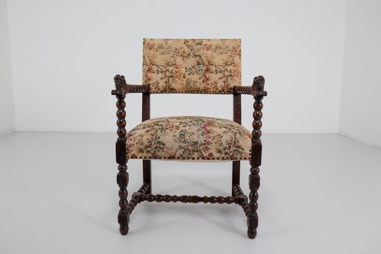 French 19th Century Carved Oak Armchair with Original Fabric, 1870 4